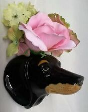 More details for quail ceramic dachshund sausage dog wall vase or pocket animal head figure model