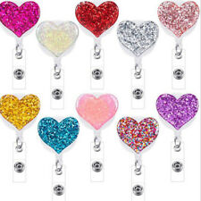 10Pcs Retractable Badge Holder with Alligator Clip Premier ID Card Heart Holders