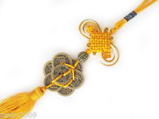 Yellow Feng Shui 8 Coins Chinese Knot Tassel Oriental Hanging Good Luck Wealth