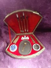 Vintage Chinese Ink Calligraphy Set with Brushes & Case Stone Pallet Euc