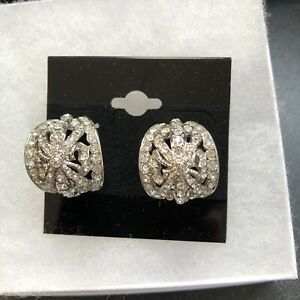 Vintage KJL Silver Tone Pave Rhinestone Pierced Earrings