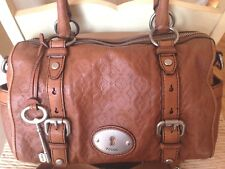 Fossil Maddox Embossed Chestnut Brown Leather Satchel Shoulder Bag and Wallet