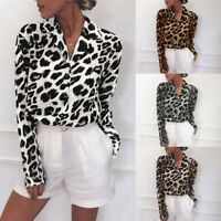 Women's V Neck Leopard Print Loose T Shirt Long Sleeve Casual Tops Blouse