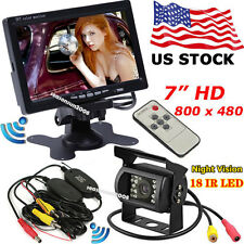 "7"" HD TFT LCD Color Monitor +Wireless IR Backup Rear View Camera for Bus Trailer"