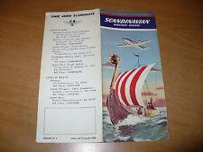 AVIAZIONE BROCHURE SCANDINAVIAN AIRLINES SYSTEM 1950 ORARIO PARTENZE ARRIVI ROMA