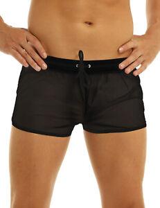 Mens Mesh See-through Gym Underwear Boxers Briefs Shorts Quick Dry Pants Bikini