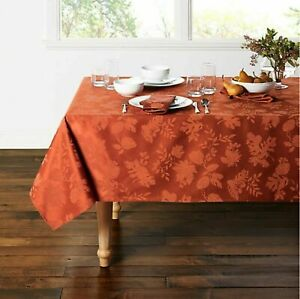 BRAND NEW Rectangle Tablecloth 60 x 104 Autumn Medley Spice Leaves Damask Fabric