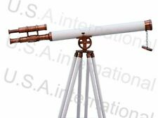 New Nautical Floor Standing Chrome Galileo Telescope With Wooden Tripod Stand