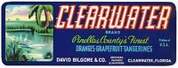CRATE LABEL VINTAGE FLORIDA CLEARWATER CITRUS PINELLAS COUNTY 1930S ORIGINAL