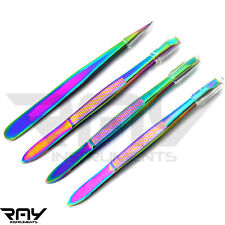Multi Color Eyebrow Hair Removal Tweezers Slanted Point Eyelash Hair Plucking