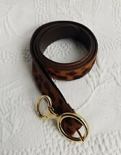 MASSIMO DUTTI Women's Leopard Print O-Ring Buckle Cow Leather Belt. Size 70.