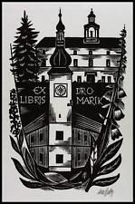 Otakar Marik Fils X2 Exlibris Bookplate Architecture Clock Uhr s187