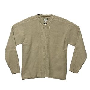 The Territory Ahead Sweater Mens L V-Neck Knit Pullover Beige Cotton Wool Blend