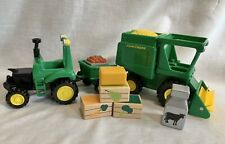 John Deere RC2 Ag Toy Combine Harvester Corn Vehicle, Tractor Hitch Wagon, Fruit