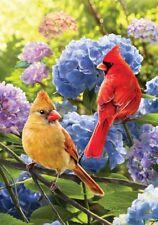 Cardinals in Hydrangeas Spring Summer Small Garden Decorative Flag