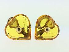 Baccarat Yellow Topaz A La Folie Crystal Heart Clip Earrings +18K Boxed sample