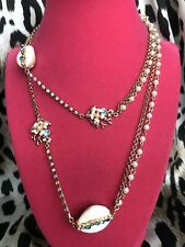 Betsey Johnson Festival Mermaid Iridescent Shell Reef Flower Pearl Long Necklace