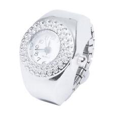 Top Damen Quarzuhr Ringuhr Ring Uhr Finger uhr Uhrenring silberfarbe A1N6