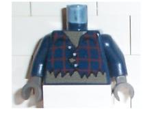 LEGO Dark Blue Torso Studios Plaid Button Shirt Ripped Pattern (Werewolf)