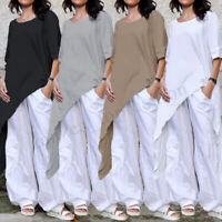 Women 3/4 Sleeve Asymmetrical Hem Clubwear Casual Cotton Plain Tops Shirt Blouse