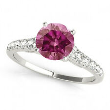 0.61 Carat Pink Diamond Solitaire Valentine Day Special Band Ring 14k WG