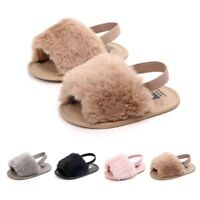 Newborn Baby Girl Soft Sole Crib Shoes Cute Fluffy Fur Summer Slippers Sandals