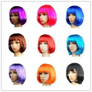 Women Short Straight Wig Colors BOB Haircut  For Cosplay Party Halloween Party