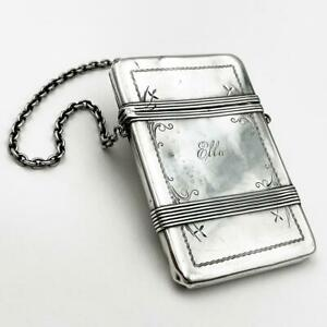 AMERICAN STERLING SILVER CALLING CARD CASE c1890 Whiting Manufacturing 'Ella'