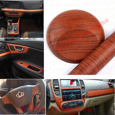 "12x48"" 1ft x 4ft Car Interior Brown Wood Textured Grain Vinyl Wrap Sticker Decal"