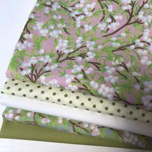 Rose & Hubble 100% Cotton Fabrics 5 piece FAT QUARTER bundle Cream & Green AM03B