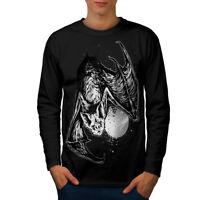Wellcoda Bat Beast Night Animal Mens Long Sleeve T-shirt, Moon Graphic Design