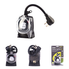 TORK 602b Mechanical Outdoor Plug-in Timer, 2 Outlets, Grounded/Outdoor Light...