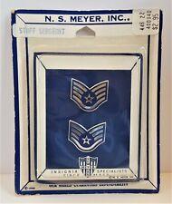 US AIR FORCE Staff Sergeant Vietnam Era Pins Collar Insignia NS Meyer Vintage