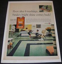 Print Ad 1960 Johnson's Stride Wax  Self Polishing Floor Polish Retro Home Decor