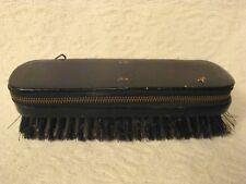 Vtg Black Top Grain Cowhide West Germany Travel Clothes Lint  Brush /Zipper Case