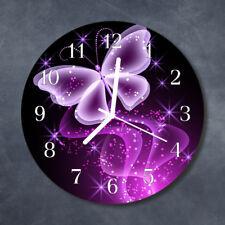 Glass Wall Clock Kitchen Clocks 30 cm round silent Butterfly Purple