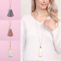 Women Long Link Fringe Tassel Pendant Necklace Sweater Chain Jewelry Party Gift