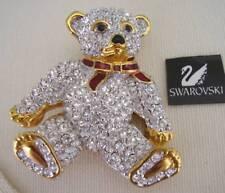Signed Swan Swarovski Clear Crystal Bear Brooch Pin