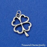 Silver SHAMROCK FOUR LEAF CLOVER Celtic Irish Lucky CHARM PENDANT