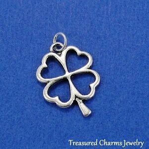 Silver SHAMROCK FOUR LEAF CLOVER Celtic Irish Lucky CHARM PENDANT