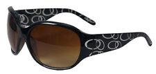 Classy Black Plastic Sunglasses Large Brown Tinted Lens White Circle Design