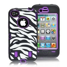 PURPLE ZEBRA High Impact DEFENDER style with film iphone 4/4s/4g -SHIPS FROM USA