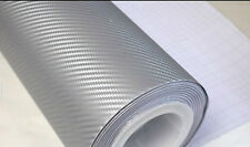 3D Carbon Fiber SILVER Twill-Weave Matte Design Decal Vinyl Film 24 x 12 Inches