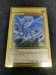 YUGIOH BLUE-EYES WHITE DRAGON GOLD NEAR MINT LIMITED EDITION MVP1-ENG55