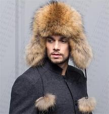 Raccoon fur leather top Winter Women fox fur New Hat Cap Headgear Beanie E1