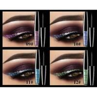 10 Colors Shimmer Eyeshadow Glitter Liquid Eyeliner Metallic Make Up Waterproof