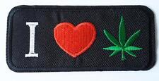 I LOVE MARIJUANA WEED CANNABIS IRON/SEW ON EMBROIDERED PATCH 9cm x 4cm HIPPY