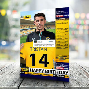 Wolves Birthday Card - Personalised With Any Name and Age. Football
