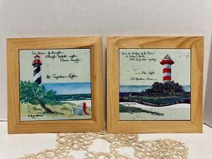 2 Pieces D. Morgan Wood Frame & Tile Art 2000 Hot-pad / Wall Hanging Decor