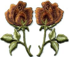 Bronze roses pair flowers floral retro boho hippie applique iron-on patch S-541